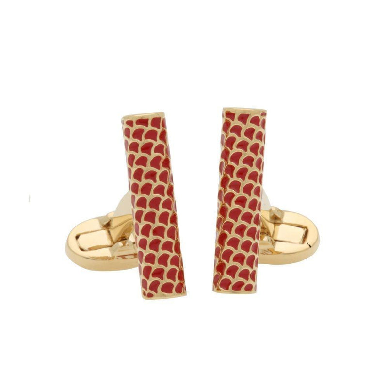 Salamander Single Tube Red & Gold Cufflinks