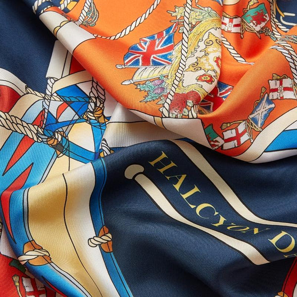 Drums Navy Silk Scarf