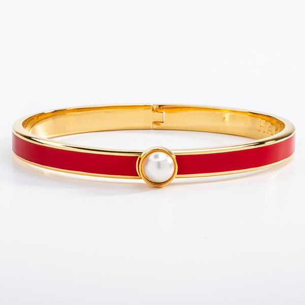 Skinny Cabochon Pearl Red & Gold Bangle