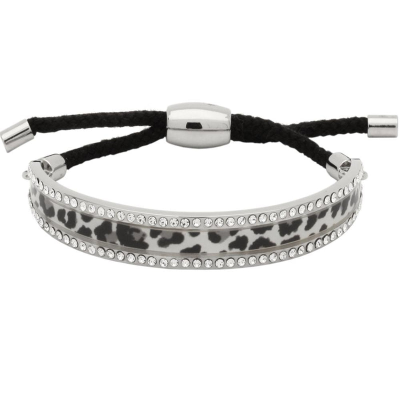 Snow Leopard Sparkle Black & Palladium Friendship Bangle