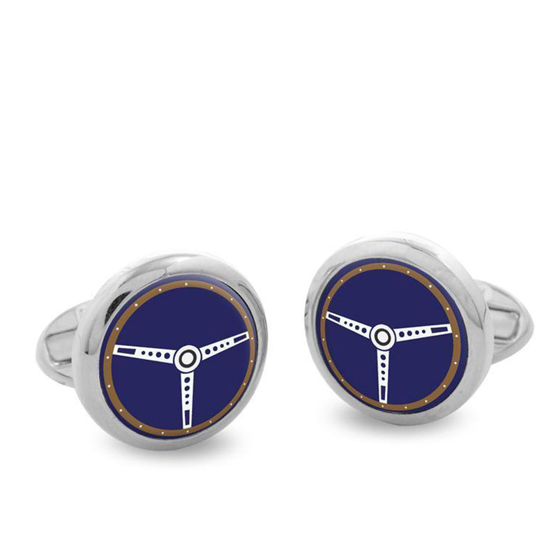 Steering Wheel Blue Palladium Round Cufflinks