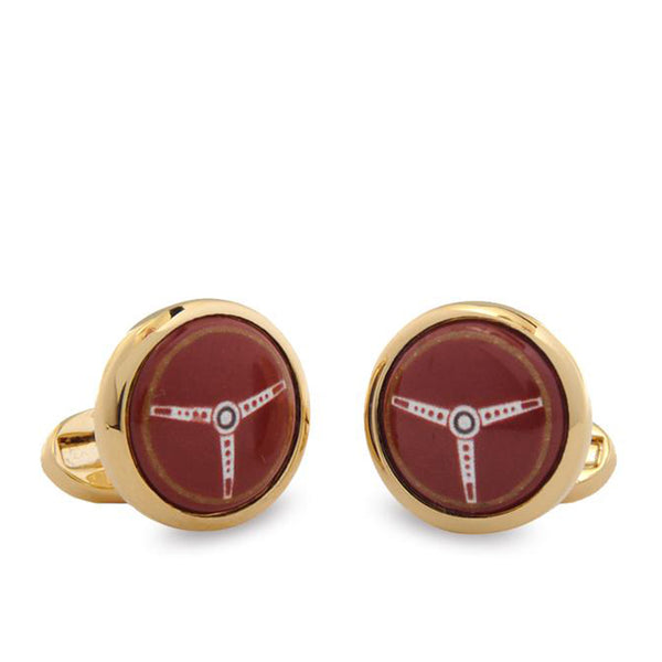 Steering Wheel Red Round Cufflinks