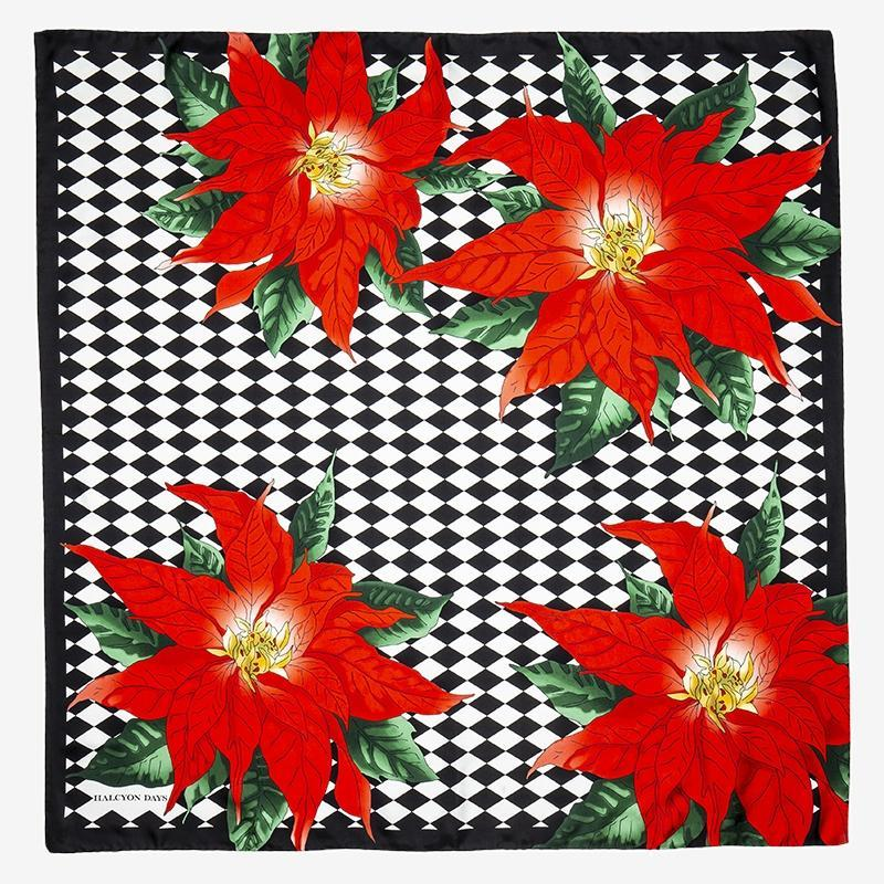 Parterre with Poinsettia Silk Scarf