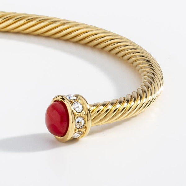 Skinny Sparkle Red & Gold Torque Bangle