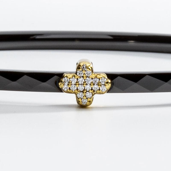 Single Agama Pave Bangle Black & Gold