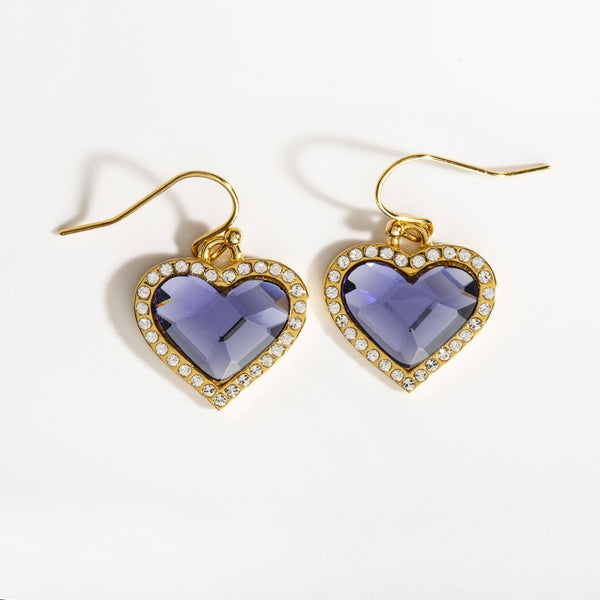 Facet Heart Blue Topaz & Gold Earrings