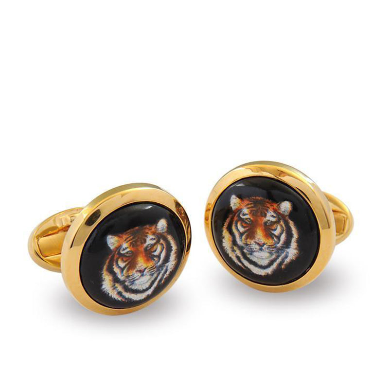 Tiger Head Round Gold Cufflinks