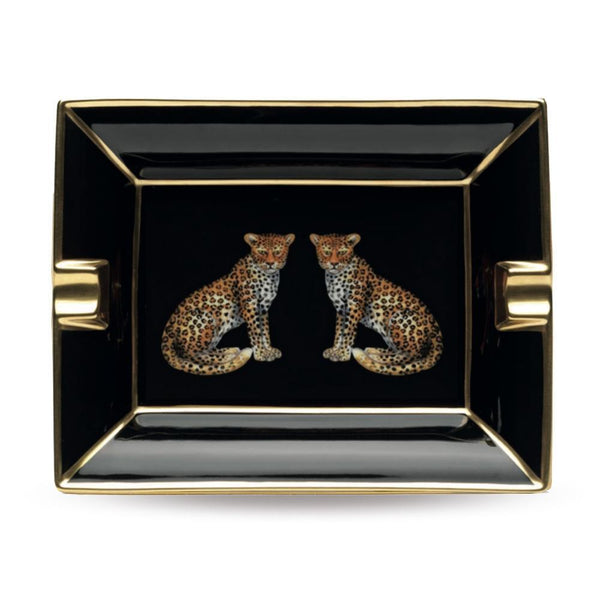 Twin Leopards Black Ashtray