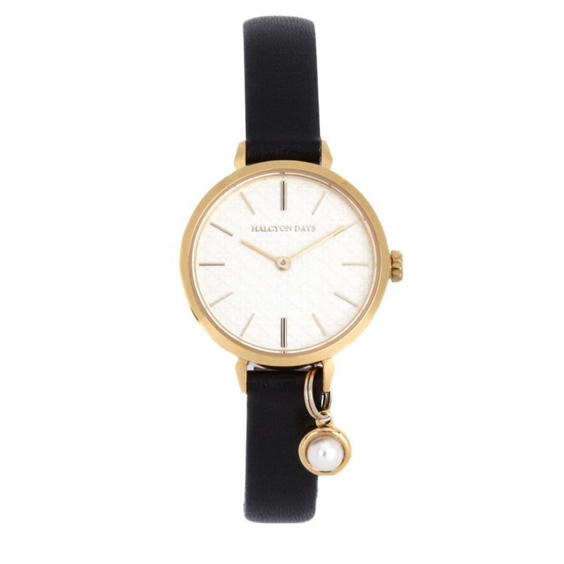 Agama Strap Pearl Charm Black & Gold Watch
