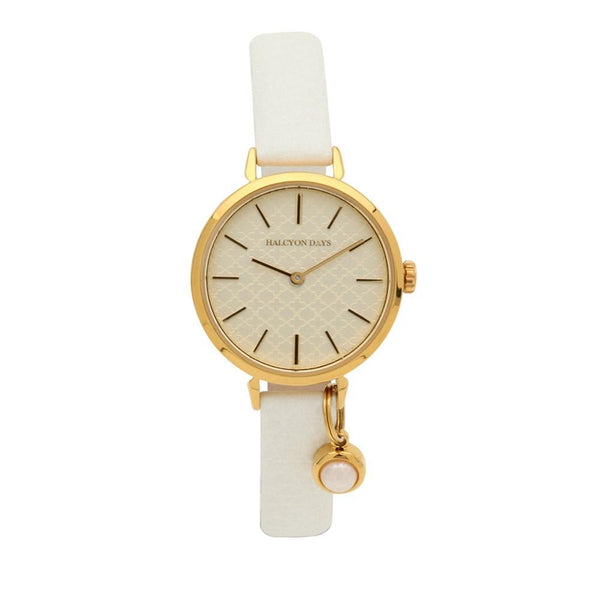 Agama Strap Pearl Charm Cream & Gold Watch