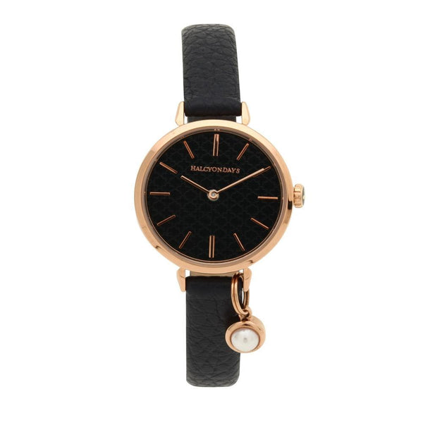 Agama Strap Pearl Charm Navy & Rose Gold Watch