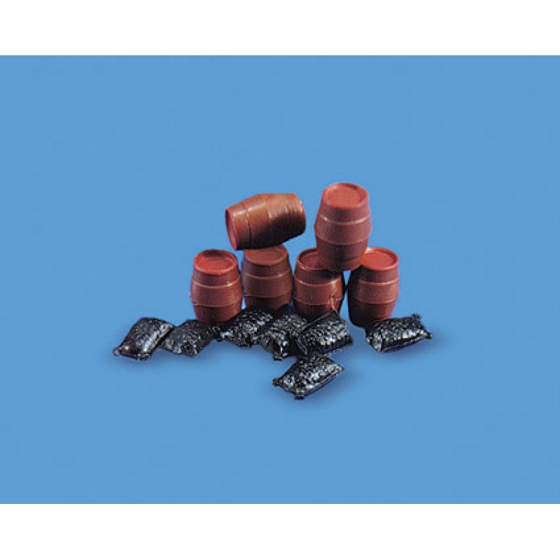 PECO MODEL SCENE 5064 OO/1:76 SACKS & BARRELS - (PRICE INCLUDES DELIVERY)
