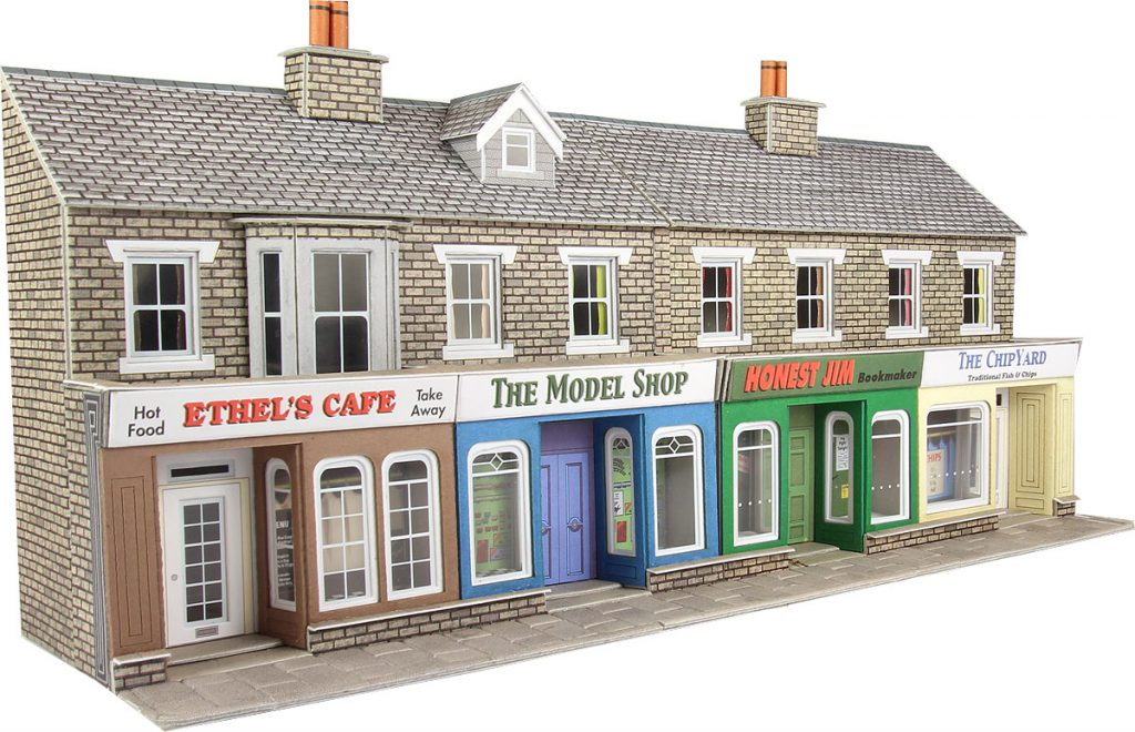 METCALFE PO273 OO/1.76 TERRACED SHOP FRONTS IN STONE FINISH - (PRICE INCLUDES DELIVERY)