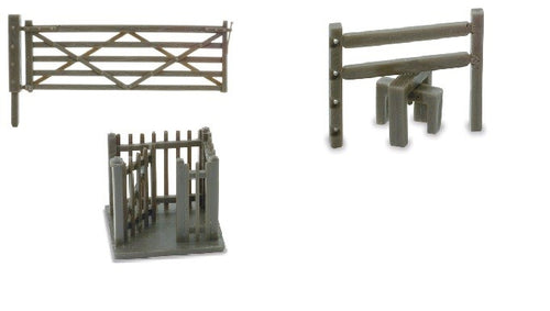 PECO LINESIDE NB-46  N GAUGE FIELD GATES (3) STILES (3) & WICKET GATE - (PRICE INCLUDES DELIVERY)