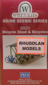 WILLS SS23 OO/1:76 BICYCLE SHED & BICYCLES - (PRICE INCLUDES DELIVERY)