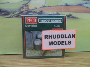 PECO MODEL SCENE 5083 OO/1:76 DUSTBINS - (PRICE INCLUDES DELIVERY)