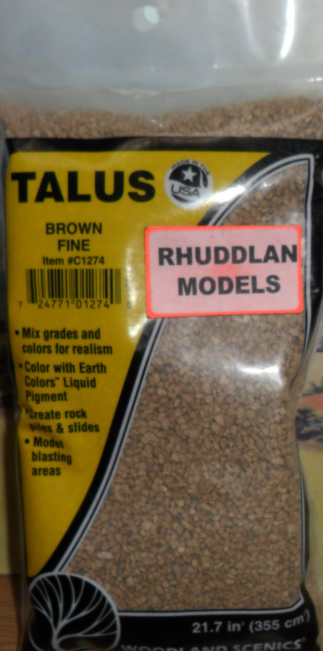 WOODLANDS SCENICS C1274 TALUS BROWN FINE - (PRICE INCLUDES DELIVERY)