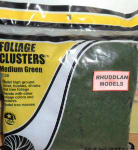WOODLANDS SCENICS FC58 FOLIAGE CLUSTERS MEDIUM GREEN - (PRICE INCLUDES DELIVERY)