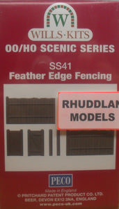 WILLS SS41 OO/1:76 FEATHER EDGE FENCING - (PRICE INCLUDES DELIVERY)