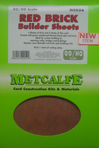 METCALFE M0054 OO/1.76 RED BRICK BUILDER SHEETS - (PRICE INCLUDES DELIVERY)