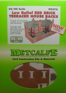 METCALFE PO276 OO/1:76 RED BRICK TERRACED HOUSE BACKS LOW RELIEF - (PRICE INCLUDES DELIVERY)