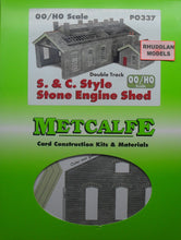 Load image into Gallery viewer, METCALFE PO337 OO/1.76 S.& C. STYLE STONE ENGINE SHED - (PRICE INCLUDES DELIVERY)