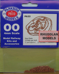 PARKSIDE MODELS PA22 OO/1.76 FINE CHAIN 13 LINKS PER INCH - (PRICE INCLUDES DELIVERY)