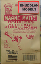 Load image into Gallery viewer, KADEE #19 HO SCALE MAGNE-MATIC 10.67MM LONG NEM COUPLERS - (PRICE INCLUDES DELIVERY)