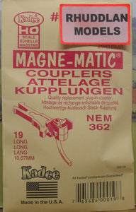 KADEE #19 HO SCALE MAGNE-MATIC 10.67MM LONG NEM COUPLERS - (PRICE INCLUDES DELIVERY)