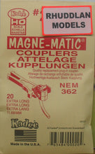 Load image into Gallery viewer, KADEE #20 HO SCALE MAGNE-MATIC 11.68MM EXTRA LONG NEM COUPLERS - (PRICE INCLUDES DELIVERY)