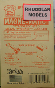 KADEE #146 HO SCALE MAGNE-MATIC STANDARD HEAD METAL WHISKER COUPLERS - (PRICE INCLUDES DELIVERY)