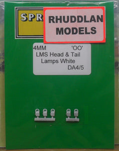 SPRINGSIDE MODELS SPDA4 OO/1.76 LMS WHITE HEAD AND TAIL LAMPS (5) - (PRICE INCLUDES DELIVERY)
