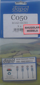 DAPOL C050 OO/1:76 ROAD SIGNS X4 - (PRICE INCLUDES DELIVERY)