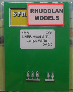 SPRINGSIDE MODELS SPDA5 OO/1.76 LNER HEAD & TAIL LAMPS (5) - (PRICE INCLUDES DELIVERY)