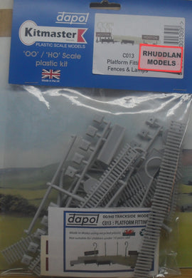 DAPOL C013 OO/1:76 PLATFORM FITTINGS/FENCES & LAMPS - (PRICE INCLUDES DELIVERY)