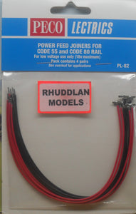 PECO LECTRICS PL-82 N-GAUGE POWER FEED JOINERS FOR CODE 55 & CODE 80 RAIL - (PRICE INCLUDES DELIVERY)