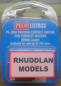 PECO LECTRICS PL-26W PASSING CONTACT SWITCHFOR TURNOUT MOTORS - (WHITE LEVER) (PRICE INCLUDES DELIVERY)