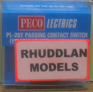 PECO LECTRICS PL-26Y PASSING CONTACT SWITCH (YELLOW LEVER) - (PRICE INCLUDES DELIVERY)