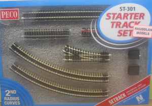 PECO ST-301 N GAUGE STARTER TRACK SET 2ND RADIUS CURVES - (PRICE INCLUDES DELIVERY)