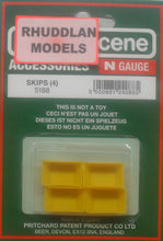 Load image into Gallery viewer, MODEL SCENE ACCESSORIES NO.5188 N GAUGE SKIPS (4) - (PRICE INCLUDES DELIVERY)