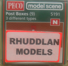 Load image into Gallery viewer, MODEL SCENE ACCESSORIES NO.5191 N GAUGE POST BOXES (9) - (PRICE INCLUDES DELIVERY)