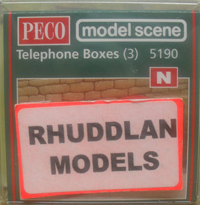 MODEL SCENE ACCESSORIES NO.5190 N GAUGE TELEPHONE BOXES (3) - (PRICE INCLUDES DELIVERY)