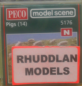 MODEL SCENE ACCESSORIES NO.5176 N GAUGE PIGS (14)  - (PRICE INCLUDES DELIVERY)