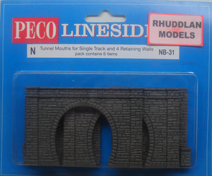 PECO LINESIDE NB-31 N GAUGE SINGLE TRACK TUNNEL MOUTH & 4 RETAINING WALLS - (PRICE INCLUDES DELIVERY)