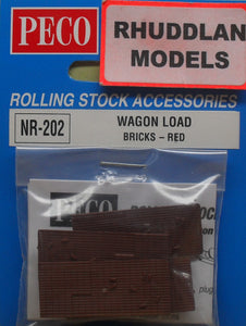 PECO NR-202 N GAUGE WAGON LOAD BRICKS-RED - (PRICE INCLUDES DELIVERY)