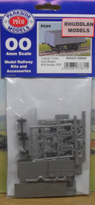 PARKSIDE MODELS PC69 OO/1:76 7-PLANK 12 TON COAL WAGON - (PRICE INCLUDES DELIVERY)