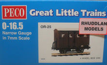 Load image into Gallery viewer, PECO GREAT LITTLE TRAINS OR-25 0-16.5 NARROW GAUGE 4 WHEEL BOX VAN KIT - (PRICE INCLUDES DELIVERY)