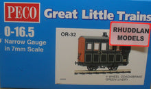 Load image into Gallery viewer, PECO GREAT LITTLE TRAINS OR-32 0-16.5 NARROW GAUGE 4 WHEEL BOX COACH/BRAKE GREEN LIVERY - (PRICE INCLUDES DELIVERY)