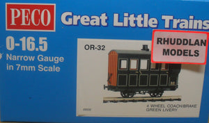 PECO GREAT LITTLE TRAINS OR-32 0-16.5 NARROW GAUGE 4 WHEEL BOX COACH/BRAKE GREEN LIVERY - (PRICE INCLUDES DELIVERY)