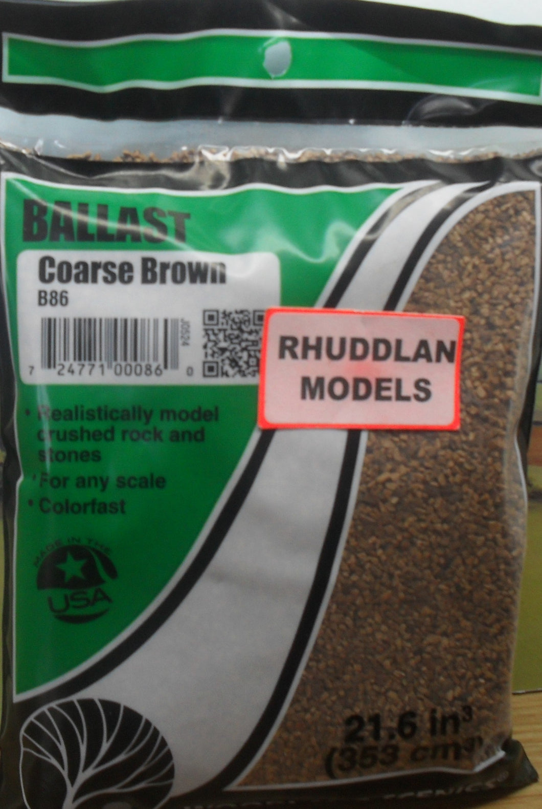 WOODLANDS SCENICS B86 BALLAST COARSE BROWN - (PRICE INCLUDES DELIVERY)